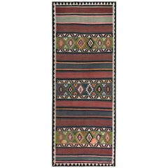 Turkish Kilim Runner Rug with Red, Gray Stripes and Green Diamond Pattern