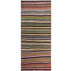 Turkish Kilim Runner Rug with Yellow, Green and Red Stripes Pattern