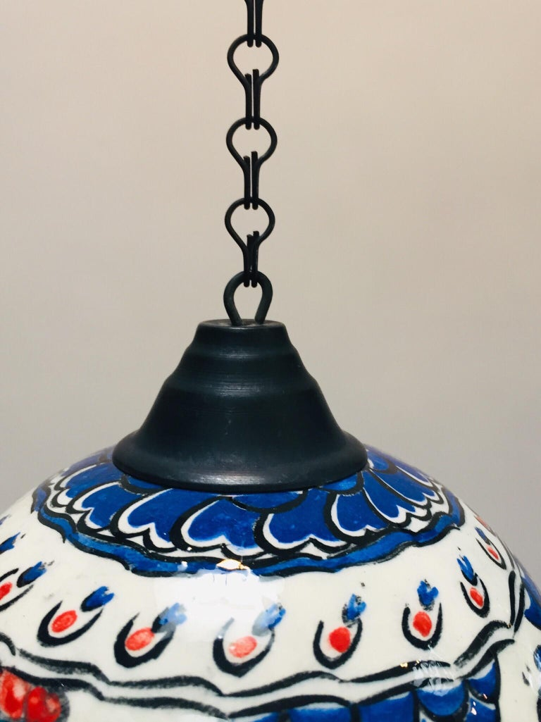 Turkish Kutahya Pottery Hanging Ornaments Polychrome Hand Painted Ceramic For Sale 4
