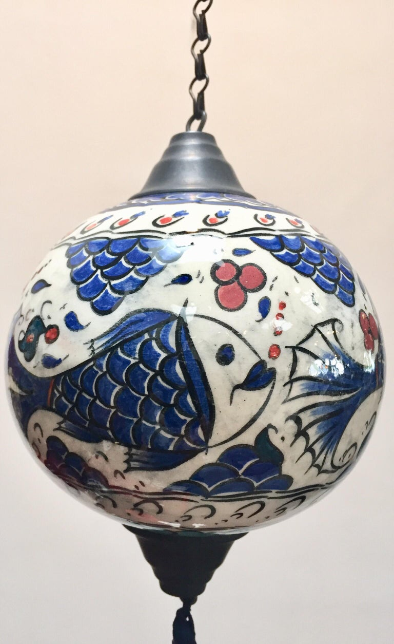 Turkish Kutahya Pottery Hanging Ornaments Polychrome Hand Painted Ceramic For Sale 5