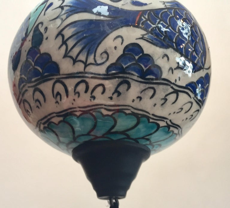 Turkish Kutahya Pottery Hanging Ornaments Polychrome Hand Painted Ceramic For Sale 6