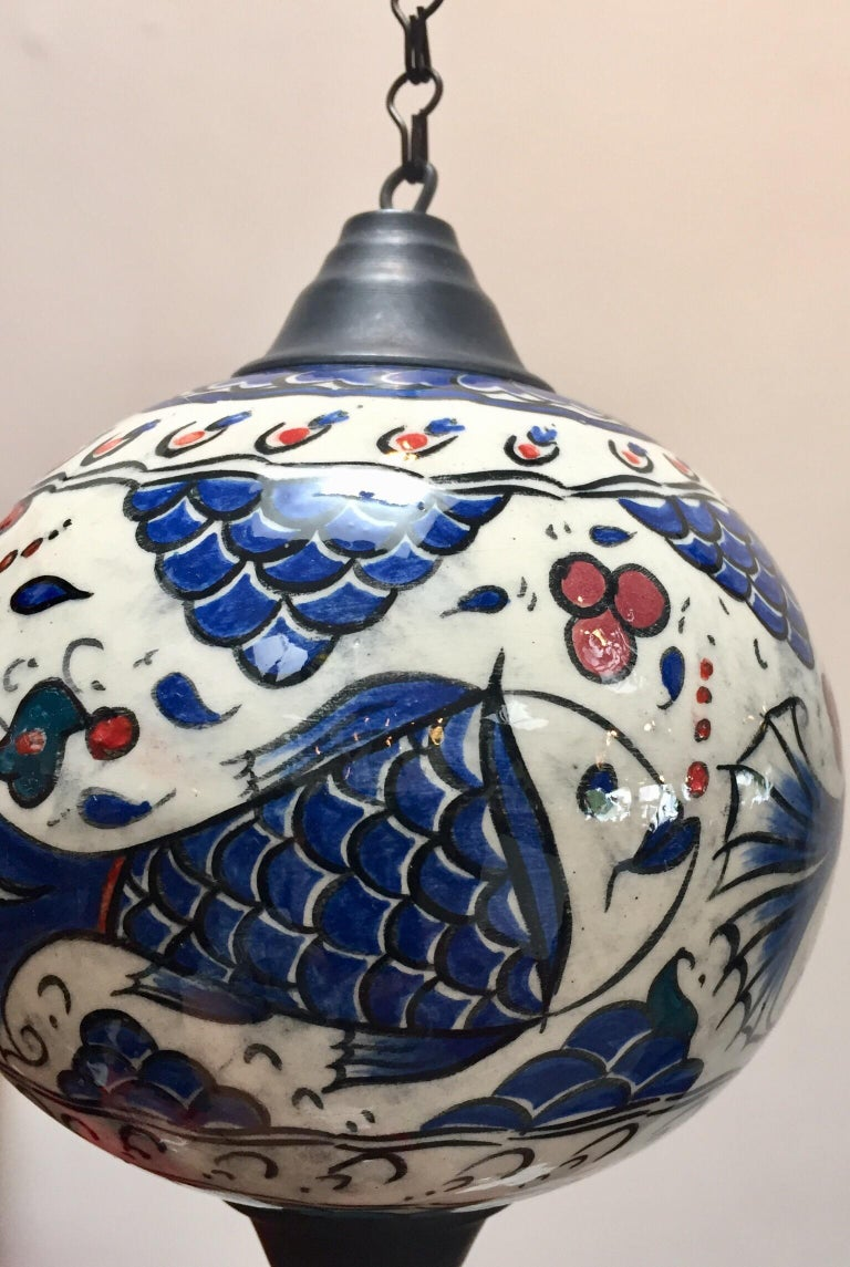 Turkish Kutahya Pottery Hanging Ornaments Polychrome Hand Painted Ceramic For Sale 7