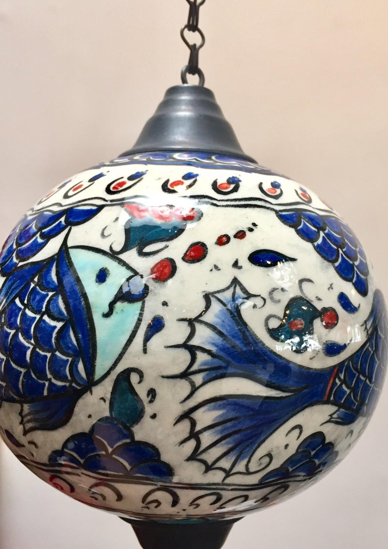 Turkish Kutahya Pottery Hanging Ornaments Polychrome Hand Painted Ceramic For Sale 8