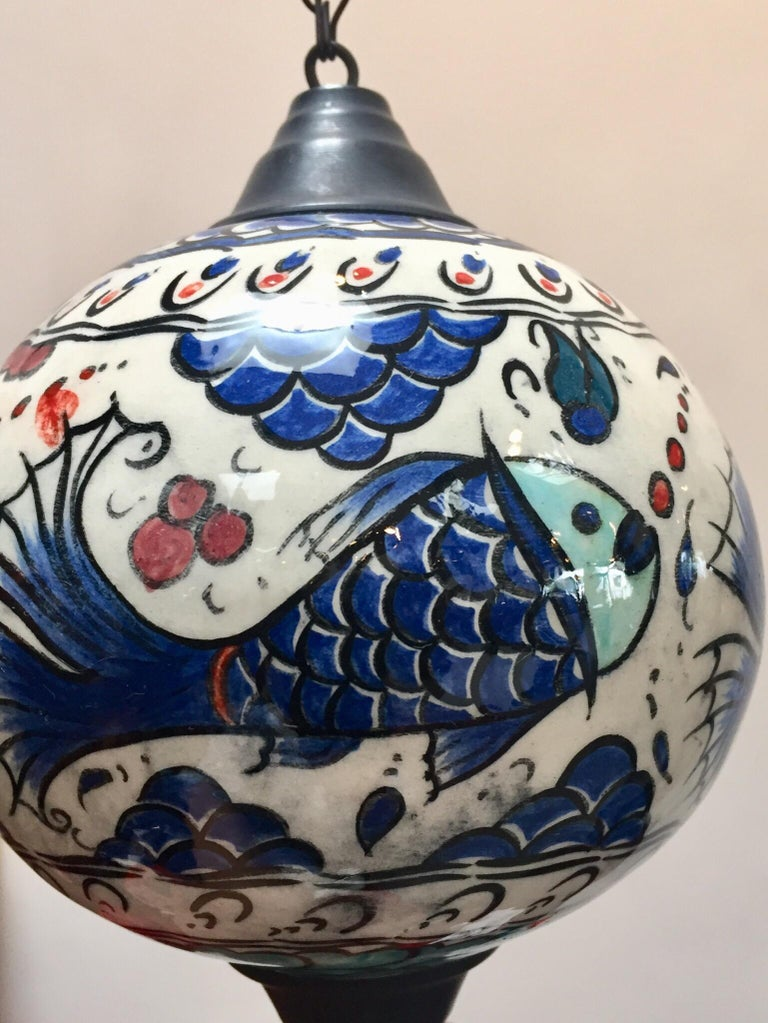 Turkish Kutahya Pottery Hanging Ornaments Polychrome Hand Painted Ceramic For Sale 9