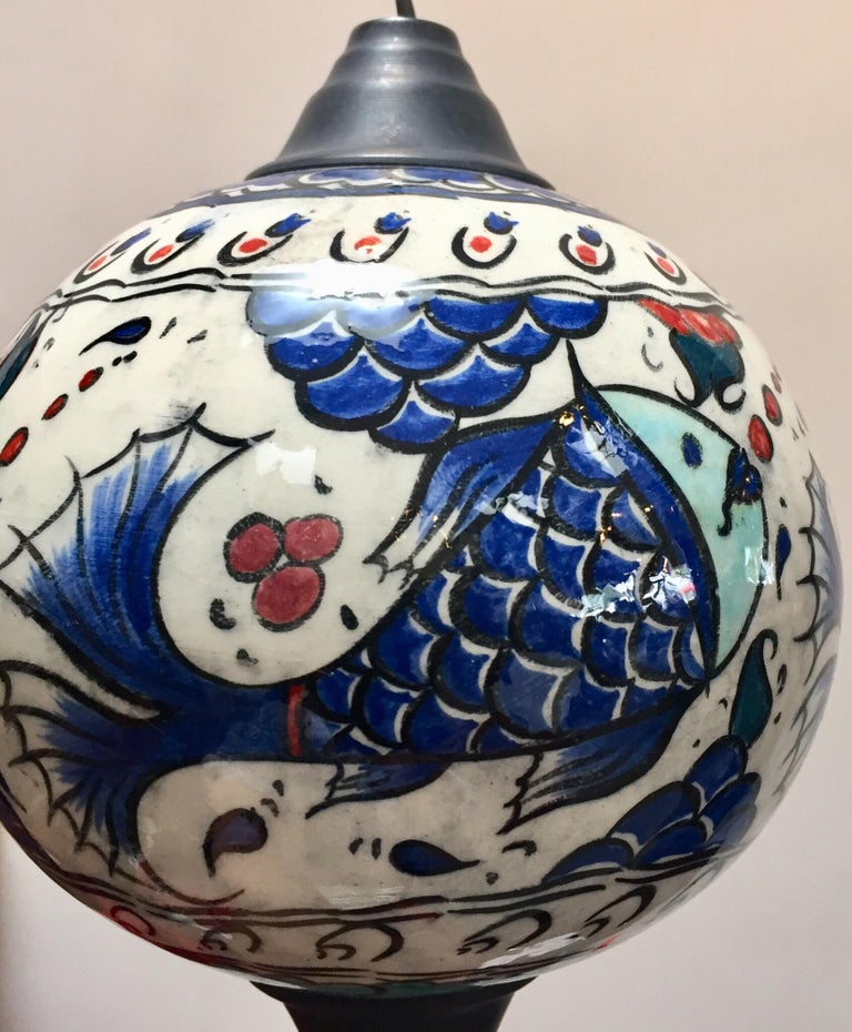 Turkish Kutahya Pottery Hanging Ornaments Polychrome Hand Painted Ceramic For Sale 10