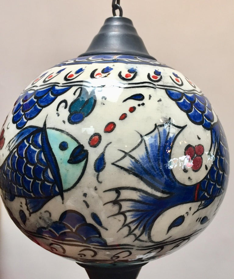 Turkish Kutahya Pottery Hanging Ornaments Polychrome Hand Painted Ceramic For Sale 11