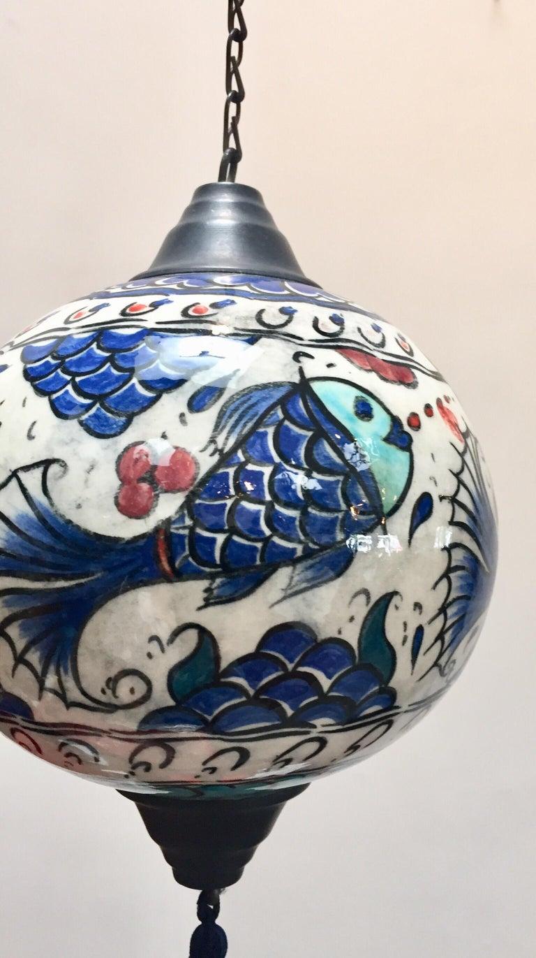 Folk Art Turkish Kutahya Pottery Hanging Ornaments Polychrome Hand Painted Ceramic For Sale