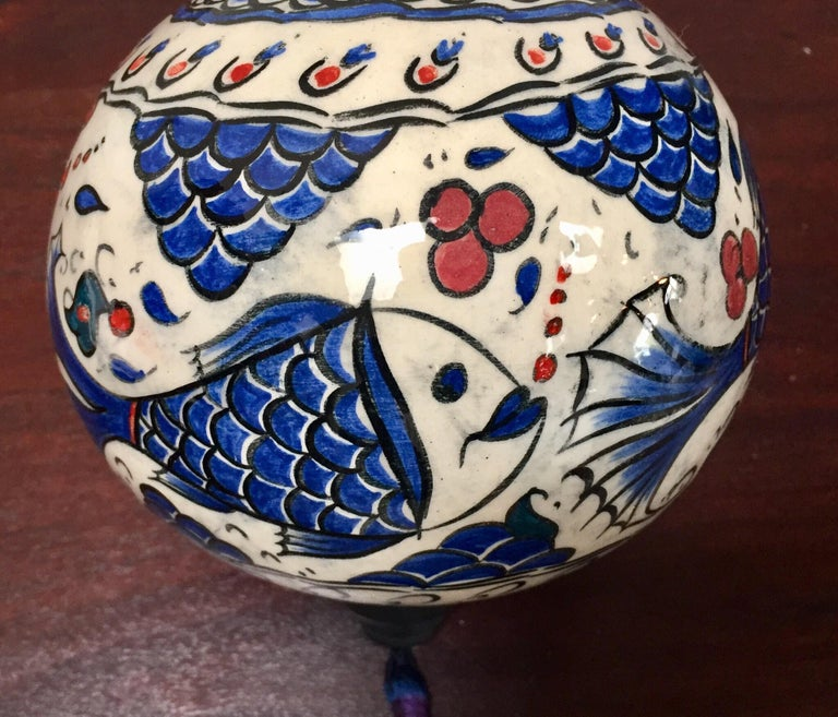 20th Century Turkish Kutahya Pottery Hanging Ornaments Polychrome Hand Painted Ceramic For Sale
