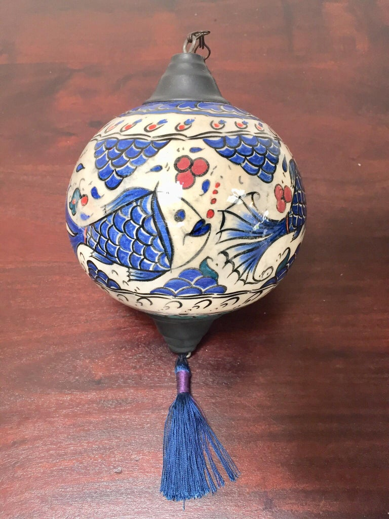 Turkish Kutahya Pottery Hanging Ornaments Polychrome Hand Painted Ceramic For Sale 1