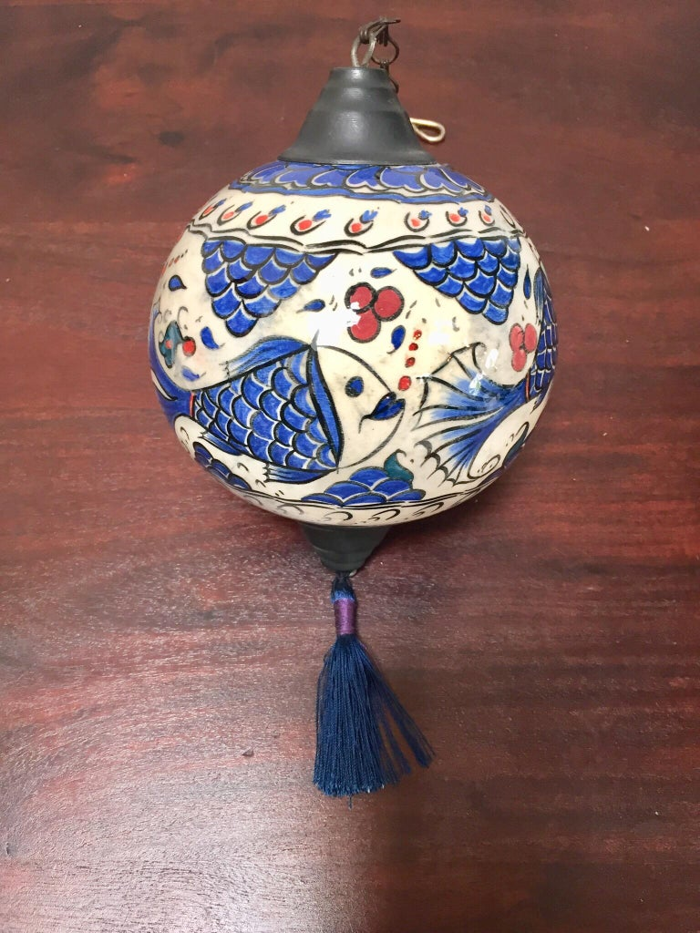 Turkish Kutahya Pottery Hanging Ornaments Polychrome Hand Painted Ceramic For Sale 2
