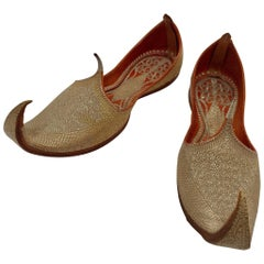 Turkish Leather Moorish Shoes with Gold Embroidered Size 6