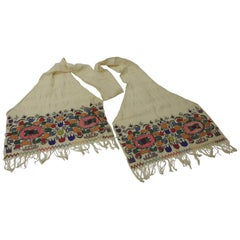 Turkish Linen Scarf with Heavy Embroidery in Silk and Metallic Floss Threads