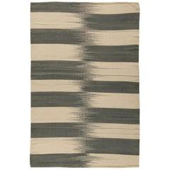 Turkish Modernist Gray and Beige Wool Kilim