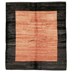Turkish Modernist Square Shag Rug in Coral and Black