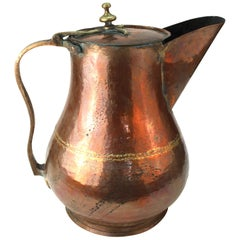 Turkish Monumental Hammered Copper Pitcher