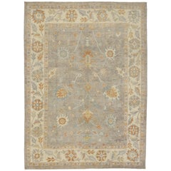 Turkish Oushak Area Rug with Neutral, Warm Colors