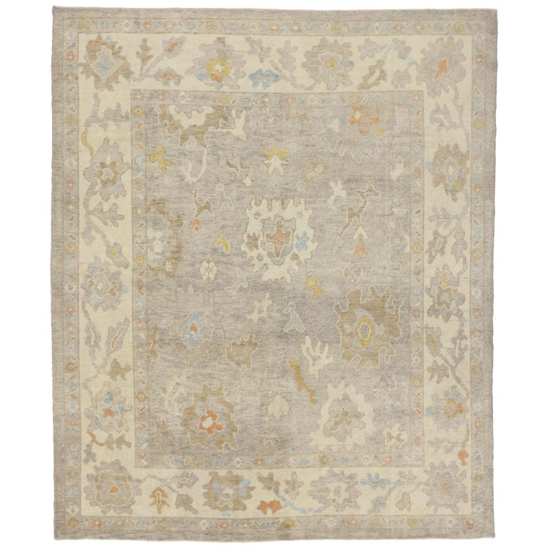 Turkish Oushak Area Rug With Neutral, Warm Colors For Sale