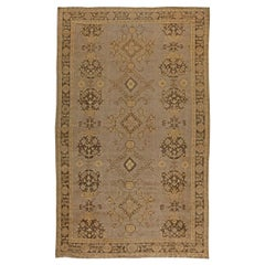 Turkish Oushak Brown and Beige Hand Knotted Wool Rug