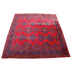 Turkish Oushak Rug Carpet Wool Turkish Ushak Red Green Blue