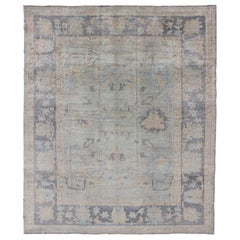 Turkish Oushak Rug with Fine Handspun Wool in All Over Design