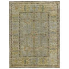 Turkish Oushak Rug with Gold and Gray Floral Medallions on Ivory Field