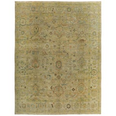 Turkish Oushak Rug with Green and Gold Floral Details on Ivory Field