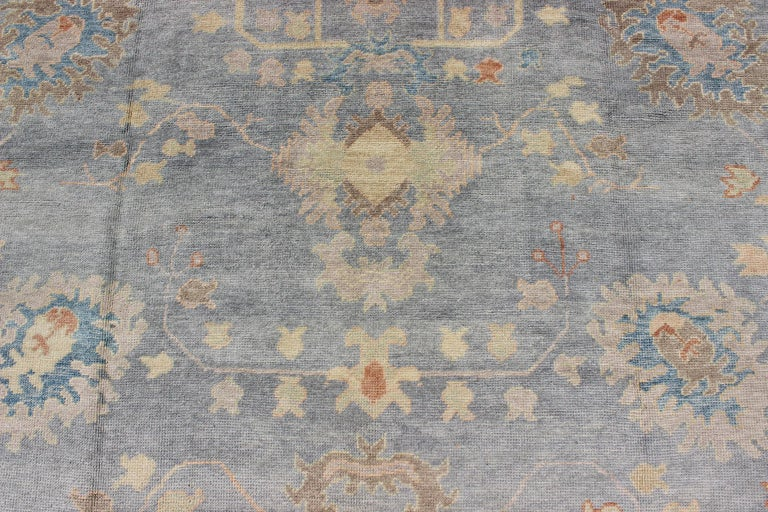 Turkish Oushak Rug with Neutral Color Palette and All-Over Flower Design For Sale 5