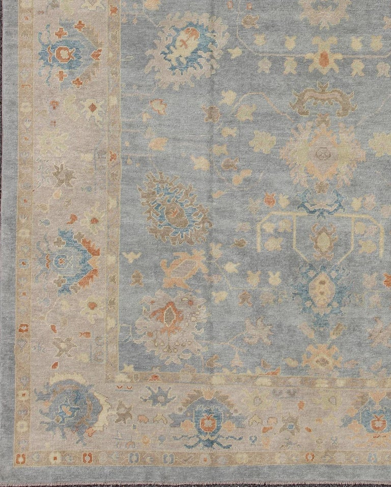 Turkish Oushak rug with neutral color palette and all-over flower design, rug en-141214, country of origin / type: Turkey / Oushak