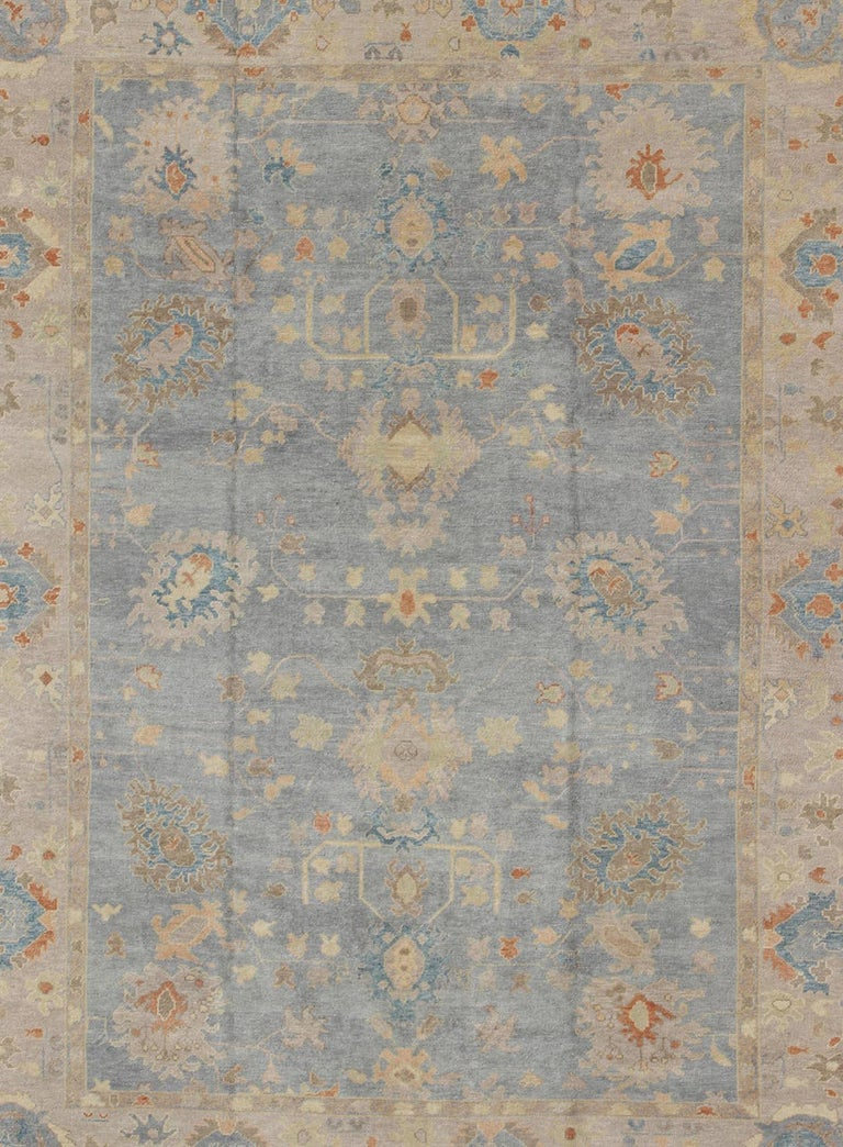 Hand-Knotted Turkish Oushak Rug with Neutral Color Palette and All-Over Flower Design For Sale