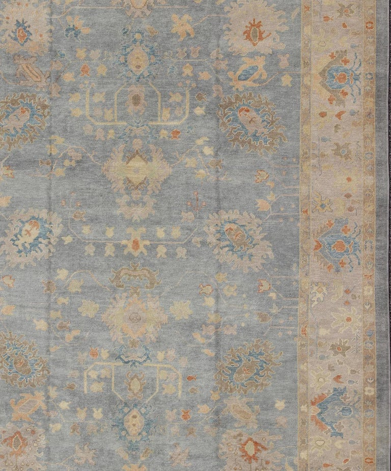 Turkish Oushak Rug with Neutral Color Palette and All-Over Flower Design In New Condition For Sale In Atlanta, GA