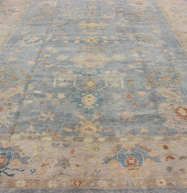 Turkish Oushak Rug with Neutral Color Palette and All-Over Flower Design For Sale 3