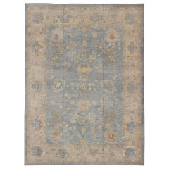 Turkish Oushak Rug with Neutral Color Palette and All-Over Flower Design