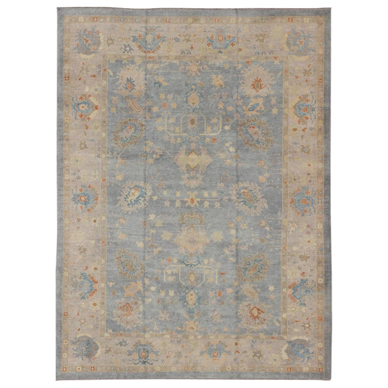 Turkish Oushak Rug with Neutral Color Palette and All-Over Flower Design For Sale