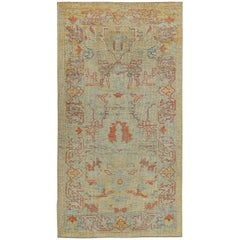Turkish Oushak Rug with Orange and Gray Floral Details on Ivory Field