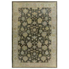 Turkish Oushak Rug with Pink & Gold Floral Details on Ivory & Brown Field