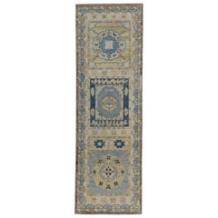 Turkish Oushak Runner Rug with Blue and Orange Floral Patterns on Beige Field