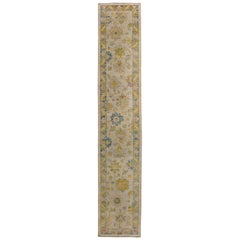 Turkish Oushak Runner Rug with Blue and Green Floral Patterns on Ivory Field