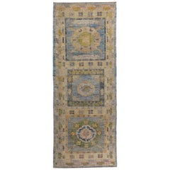 Turkish Oushak Runner Rug with Green and Orange Floral Patterns on Blue Field