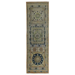 Turkish Oushak Runner Rug with Navy & Green Floral Patterns on Blue & Orange Fie