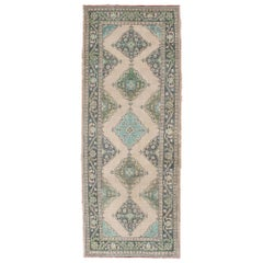 Turkish Oushak Runner with Medallion Design in Dark Blue, Blush, Aqua and Green