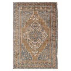 Turkish Oushak Vintage Carpet from Turkey in Golden Brown and Blue Tones
