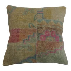 Turkish Patchwork Rug Pillow with Pops of Pink