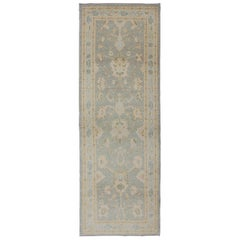 Turkish Reproduction Oushak Runner with Blue and Neutral Color Palette