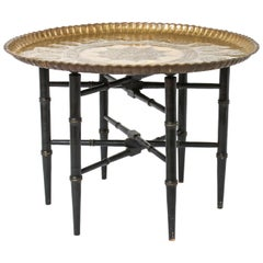 Turkish Round Brass Charger Side Table