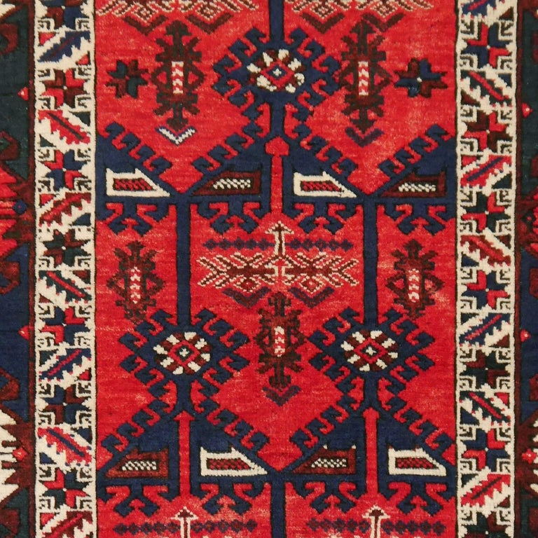 Turkish Rug Hand Knotted Semi Antique Dosemealti Red and Blue Midcentury Carpet For Sale 3