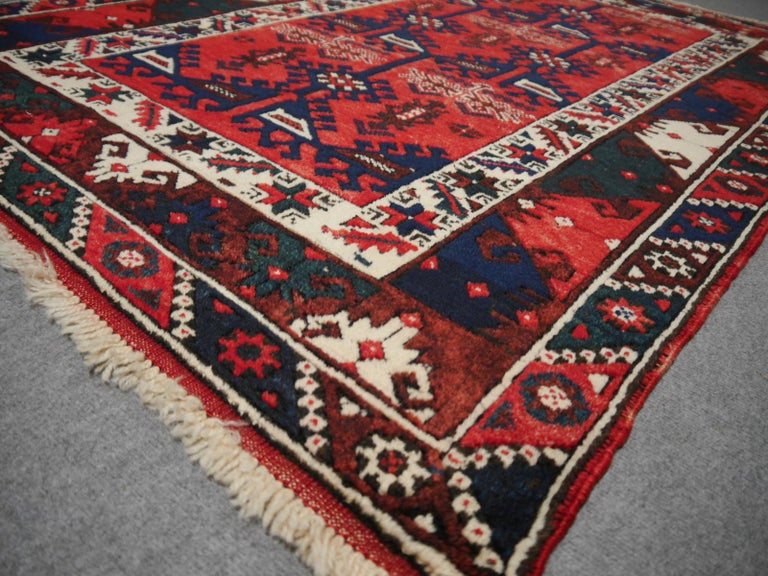 Tribal Turkish Rug Hand Knotted Semi Antique Dosemealti Red and Blue Midcentury Carpet For Sale
