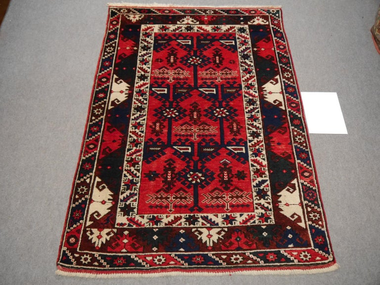 Hand-Knotted Turkish Rug Hand Knotted Semi Antique Dosemealti Red and Blue Midcentury Carpet For Sale