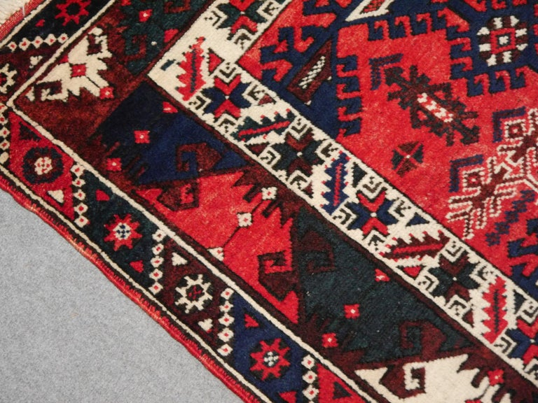 Turkish Rug Hand Knotted Semi Antique Dosemealti Red and Blue Midcentury Carpet In Excellent Condition For Sale In Lohr, Bavaria, DE