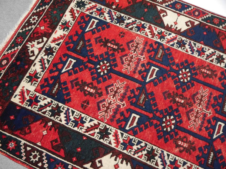 20th Century Turkish Rug Hand Knotted Semi Antique Dosemealti Red and Blue Midcentury Carpet For Sale