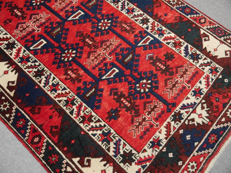 Wool Turkish Rug Hand Knotted Semi Antique Dosemealti Red and Blue Midcentury Carpet For Sale